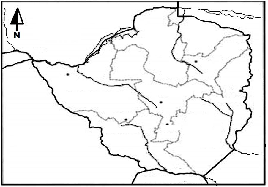 Blank map of Zimbabwe