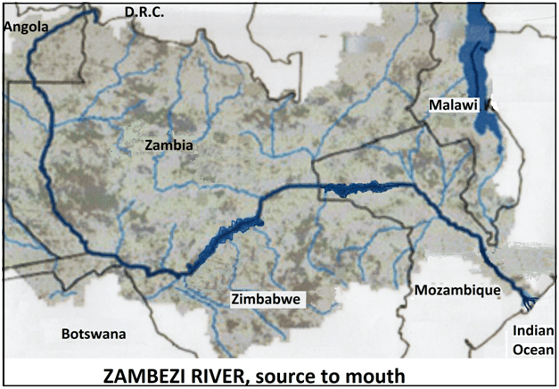 Zambezi River - source to mouth, with labels