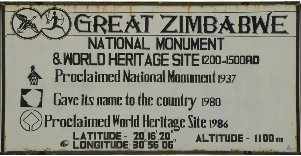 GREAT ZIMBABWE'S ENTRANCE SIGN