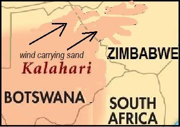Kalahari sand carried into Hwange area by wind