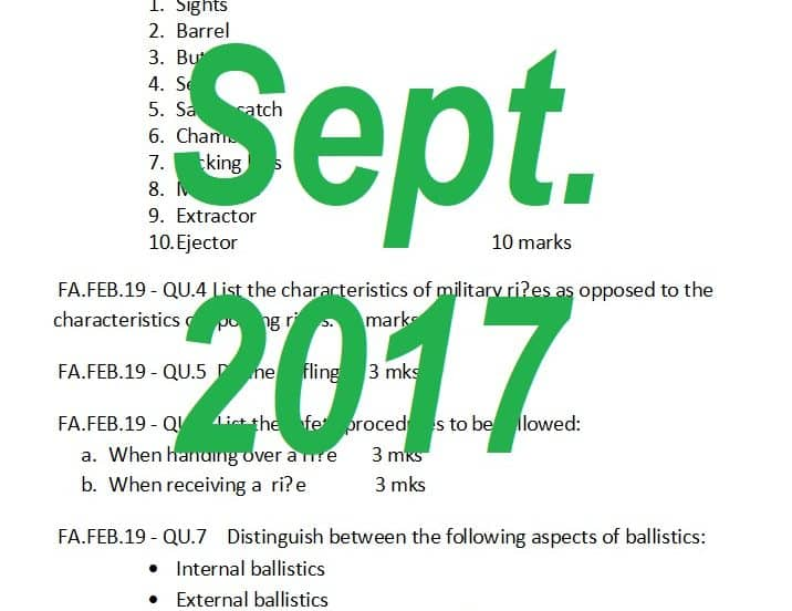 Past Papers: September 2017