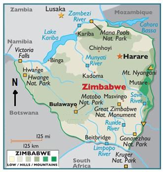Tourist map of Zimbabwe