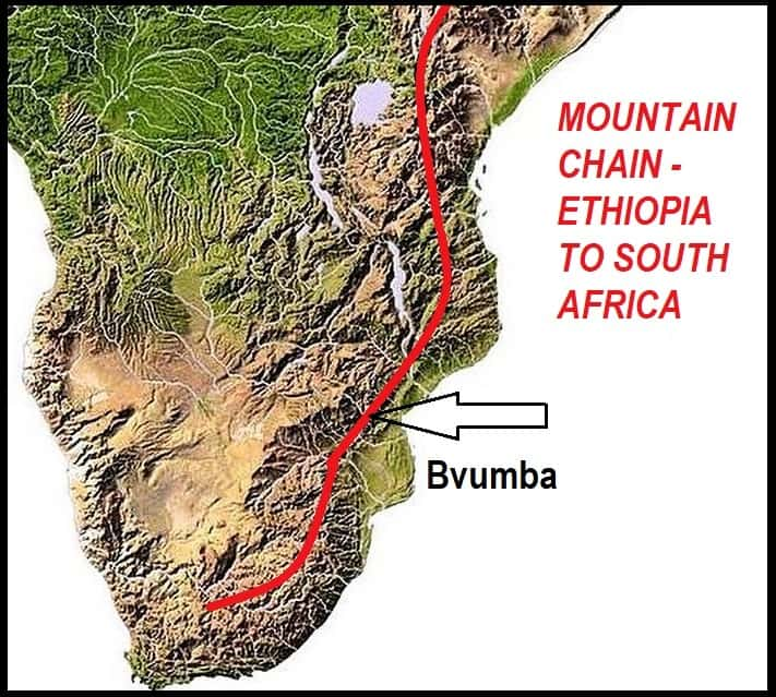Topographical Map of Central & Southern Africa