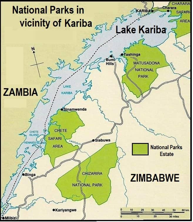 Map - Kariba, Matusadona, Chete