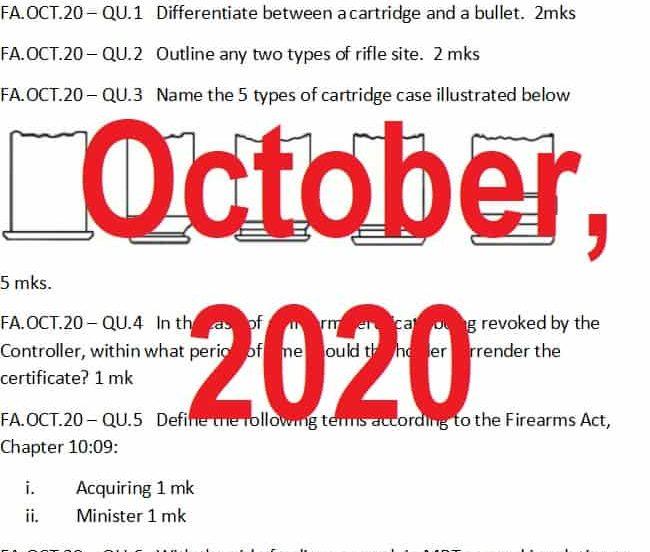 October, 2020 Examination Paper