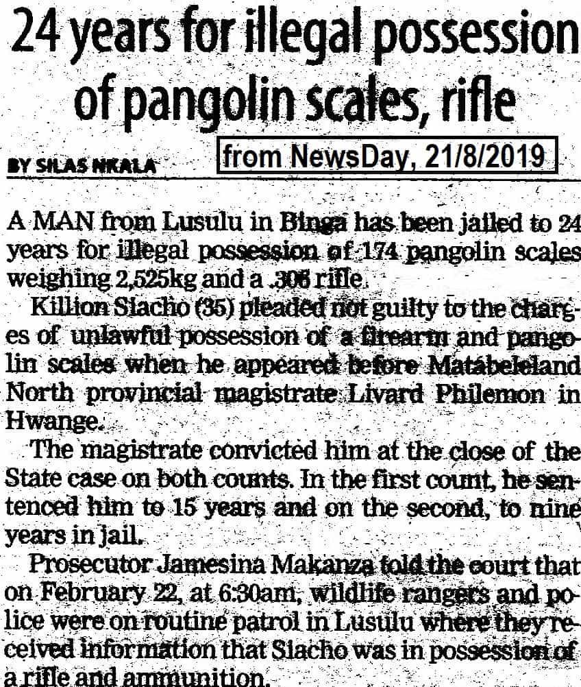 Jail for pangolin poaching